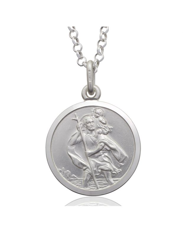 Sterling Silver St Christopher necklace 18mm Round Bevelled Edge with Belcher chain