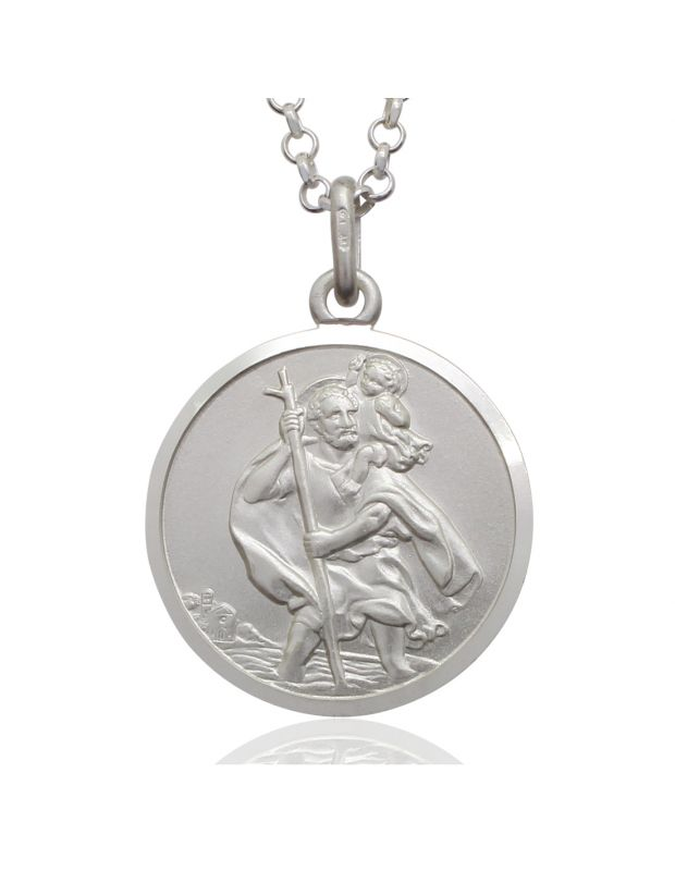 Sterling Silver St Christopher necklace 20mm Round Bevelled Edge with Belcher chain