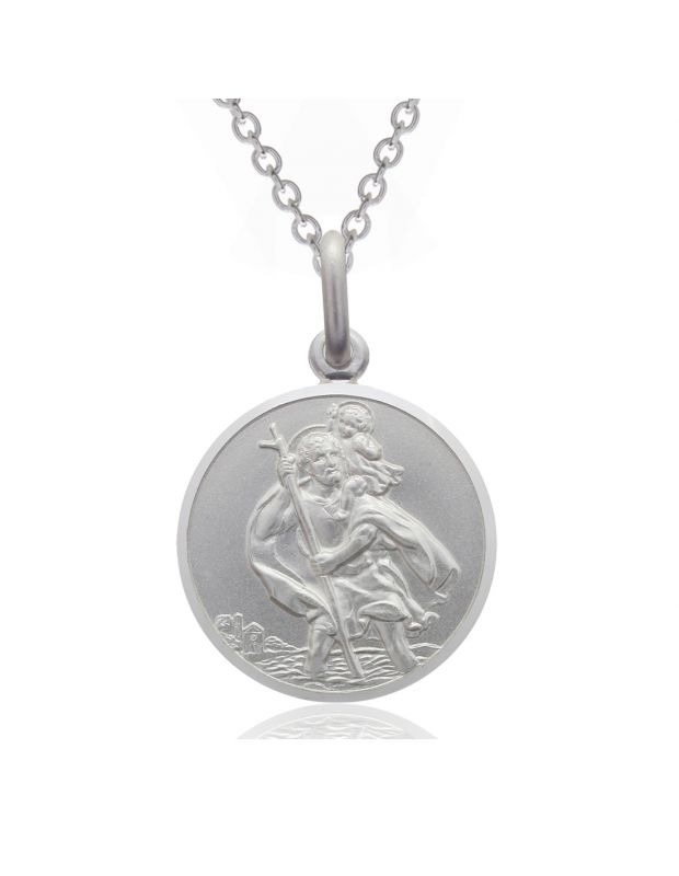 Sterling Silver St Christopher necklace 14mm Round Bevelled Edge with Cable Trace chain