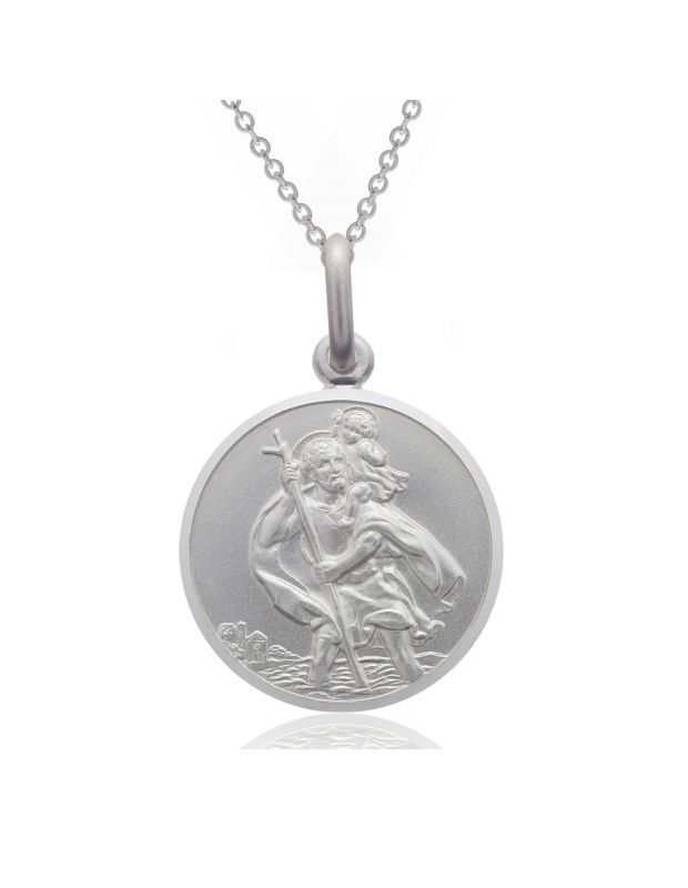 Sterling Silver St Christopher necklace 16mm Round Bevelled Edge with Cable Trace chain