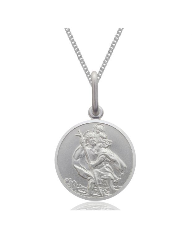 Sterling Silver Round St Christopher Bevelled Edge Necklace Curb chain 10mm Boys Girls
