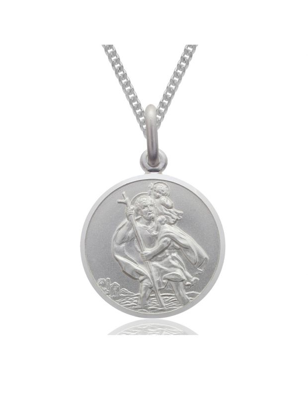 Sterling Silver 14mm St Christopher Pendant Necklace with Bevelled Edge & Curb Chain