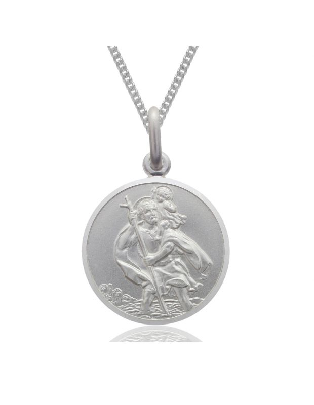 Sterling Silver St Christopher necklace 18mm Round Bevelled Edge with Curb chain