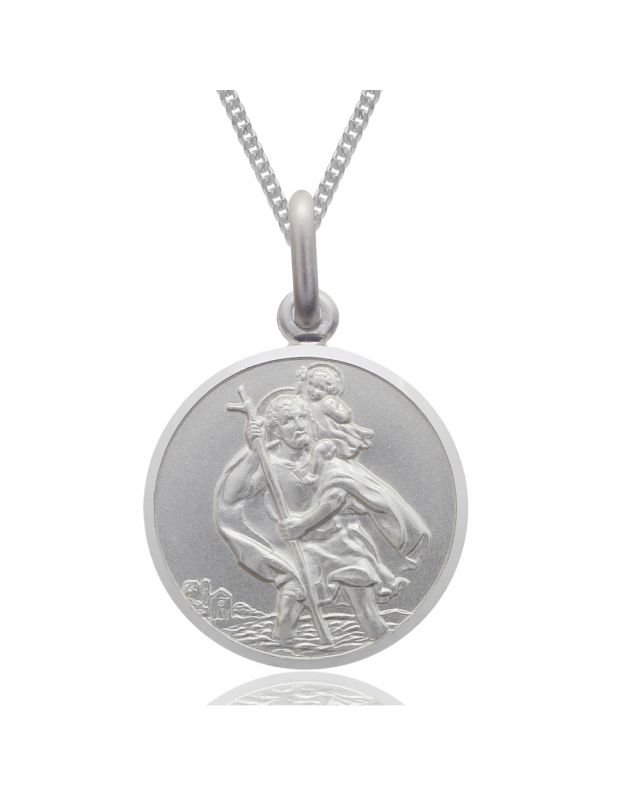 Sterling Silver St Christopher necklace 22mm Round Bevelled Edge with Curb chain