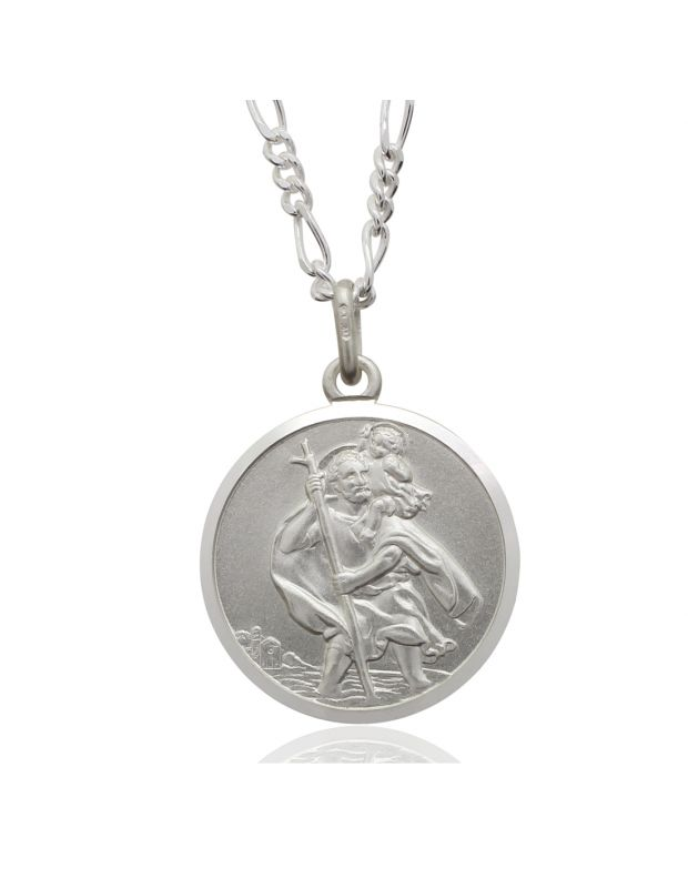 Sterling Silver St Christopher necklace 20mm Round Bevelled Edge with Figaro chain
