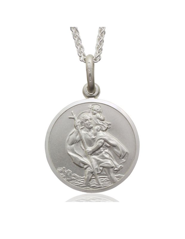 Sterling Silver St Christopher necklace 22mm Round Bevelled Edge with Spiga Wheat chain
