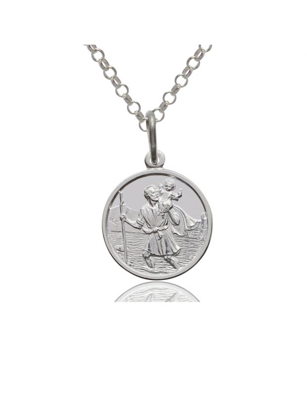 Sterling Silver St Christopher Necklace Belcher chain 12mm Children