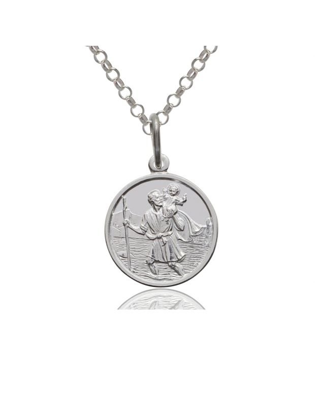 Sterling Silver Round 14mm St Christopher Necklace with Belcher chain