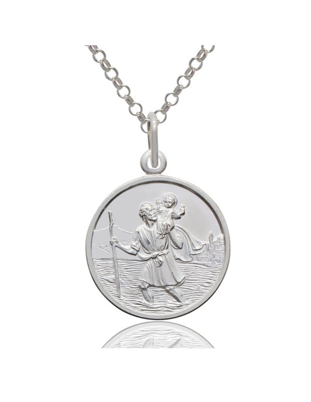 Sterling Silver Round 18mm St Christopher Necklace with Belcher chain