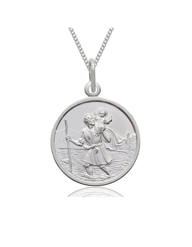 Sterling Silver St Christopher Necklace Curb chain 12mm Children
