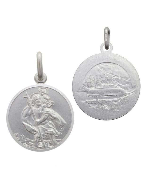 Sterling Silver St Christopher pendant round with satin centre bevelled edge - front and reverse image