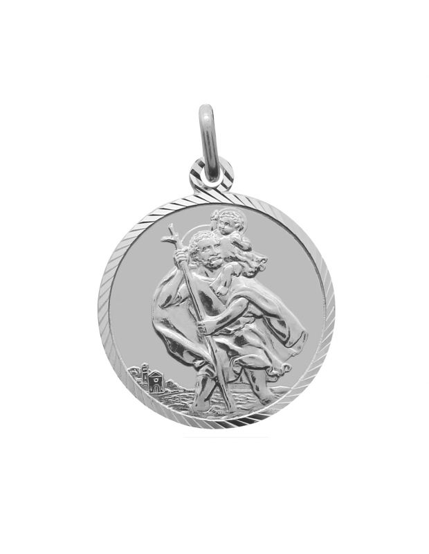 Sterling Silver St Christopher pendant round with ultramodern Diamond Cut border