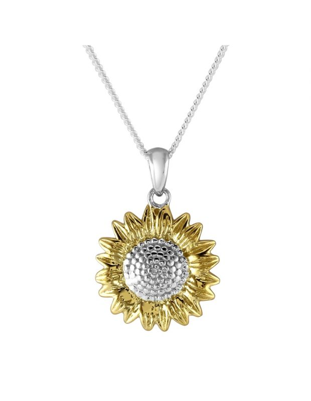 Sterling Silver Gold Plated SUNFLOWER Necklace with Cable Chain