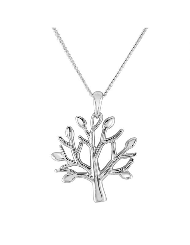 Sterling Silver Tree of Life Necklace with Cable Chain