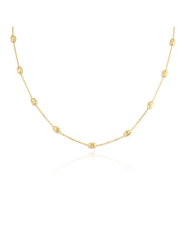 9ct Yellow Gold Plated Sterling Silver Oval Beaded Diamond Cut Trace Chain