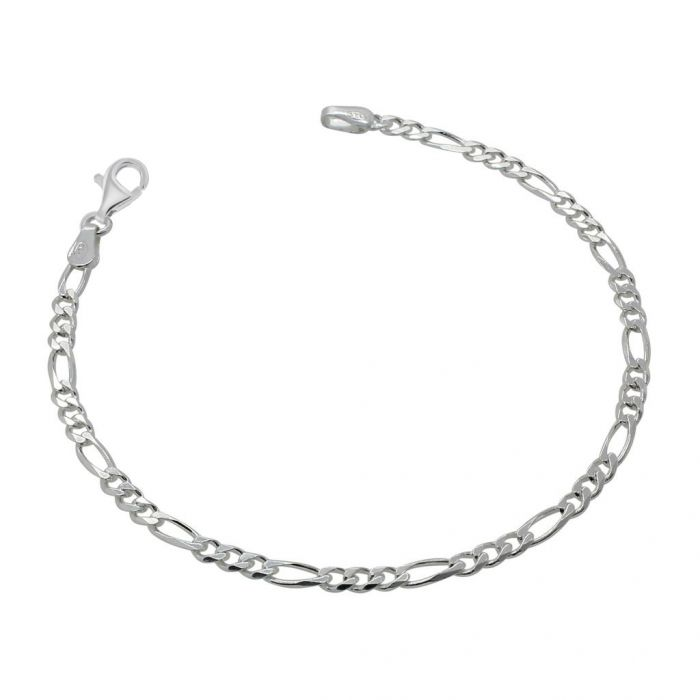 Sterling Silver 3mm Diamond Cut Figaro Link Bracelet