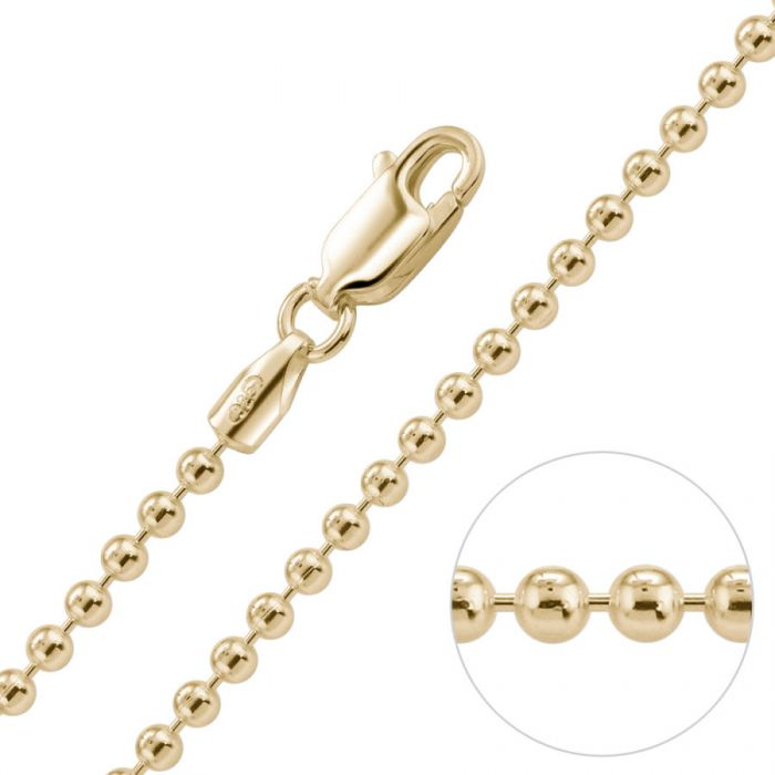 9ct Yellow Gold Plated 2mm Ball Bead Chain Necklace