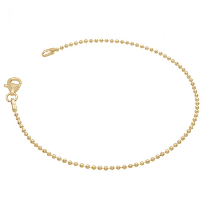 Yellow Gold Plated Sterling Silver 1.5mm Ball Bead Link Bracelet