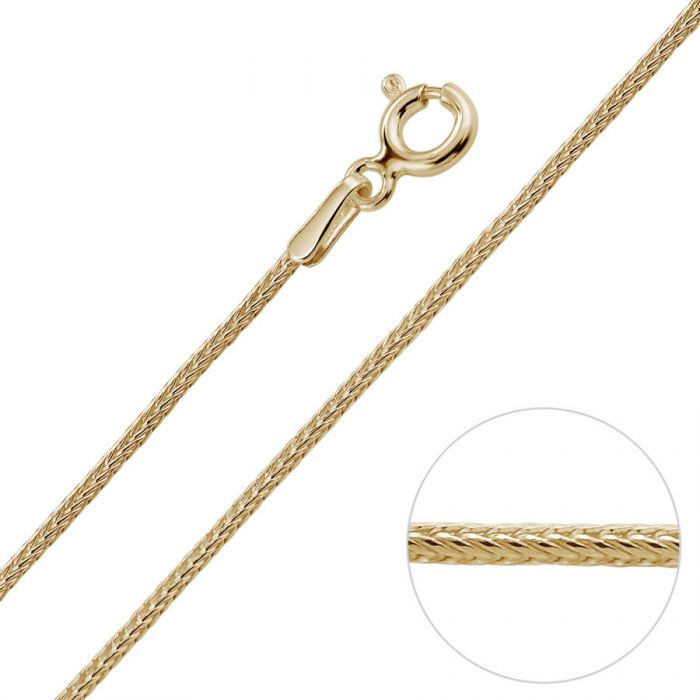 9ct Yellow Gold Plated 1.1mm Foxtail Chain  Necklace