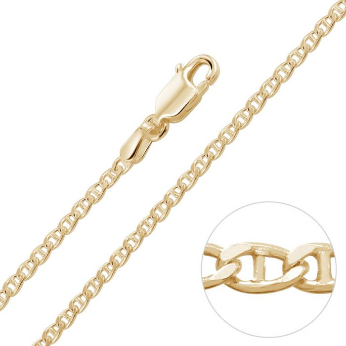 9ct Yellow Gold Plated 2mm Diamond Cut Marina Chain Necklace