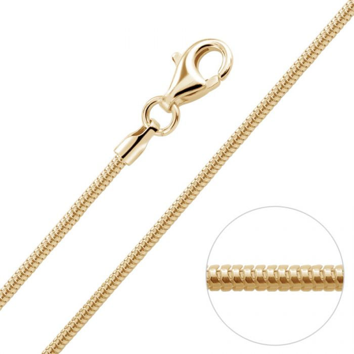 9ct Yellow Gold Plated 1.4mm Snake Chain Necklace