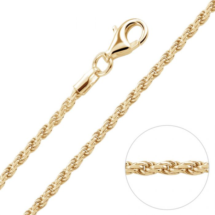9ct Yellow Gold Plated 1.8mm Diamond Cut Rope Chain Necklace
