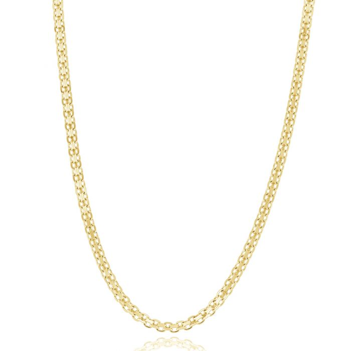 Yellow Gold Plated Sterling Silver 2.4mm Bismark Chain Necklace