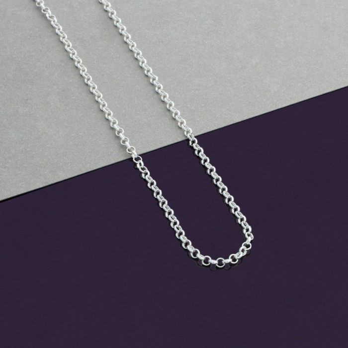 Sterling Silver 2mm Belcher Rolo Chain Necklace