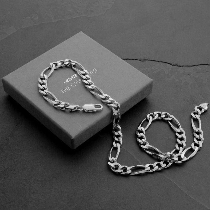 Sterling Silver 7.6mm Diamond Cut Figaro Chain Necklace Heavy