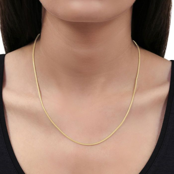 9ct Yellow Gold Plated 1.5mm Foxtail Chain  Necklace