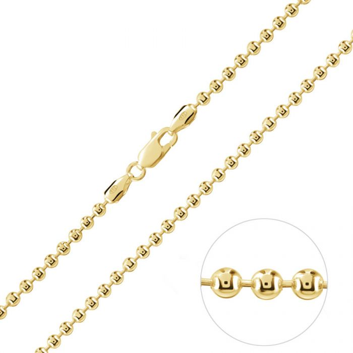 Yellow Gold Plated Sterling Silver 3mm Ball Bead Chain Necklace
