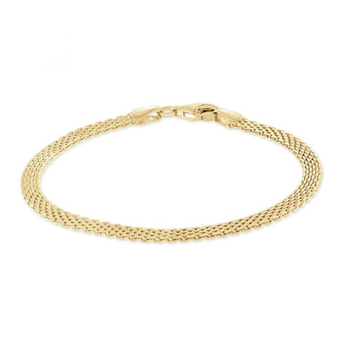 Yellow Gold Plated Sterling Silver 3.9mm Mesh Bracelet
