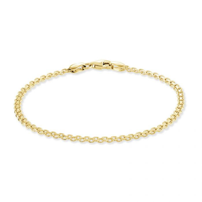 Yellow Gold Plated Sterling Silver 2.4mm Bismark Bracelet