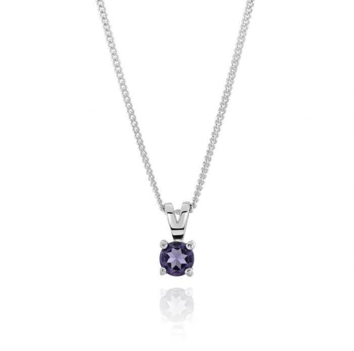 Sterling Silver February Amethyst Birthstone Necklace with Curb Chain