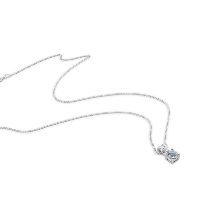 Sterling Silver March Aquamarine Birthstone Necklace with Curb Chain