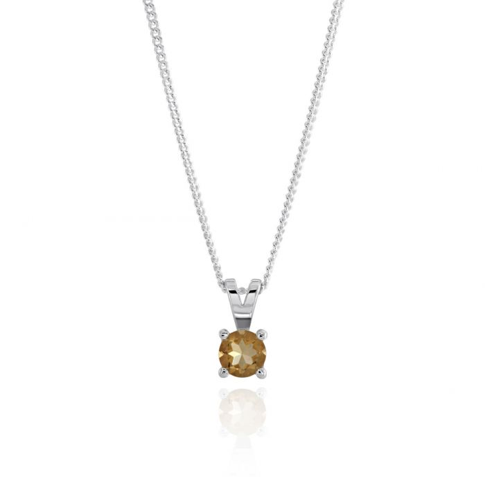 Sterling Silver November Citrine Birthstone Necklace with Curb Chain