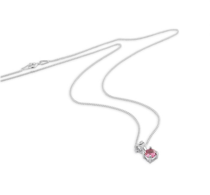 Sterling Silver October Pink Sapphire Birthstone Necklace with Curb Chain