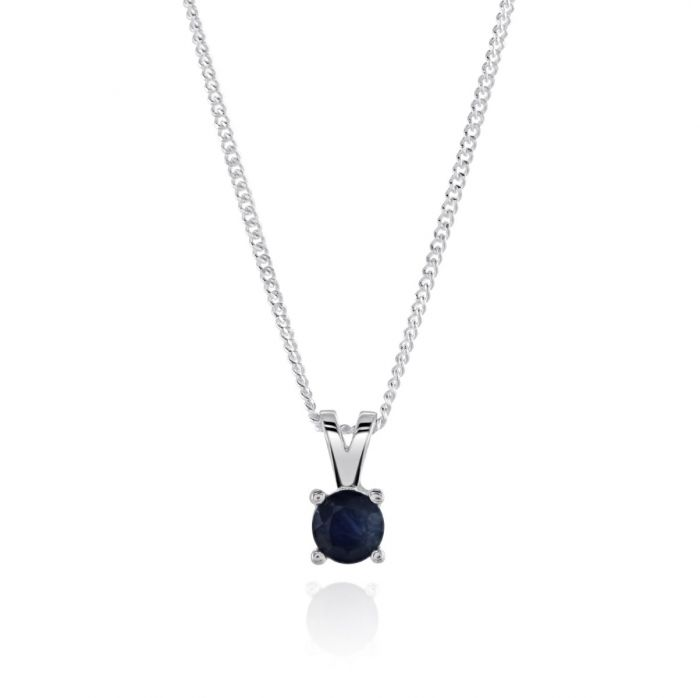 Sterling Silver September Sapphire Birthstone Necklace with Curb Chain