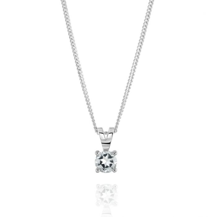 Sterling Silver April White Topaz Birthstone Necklace with Curb Chain