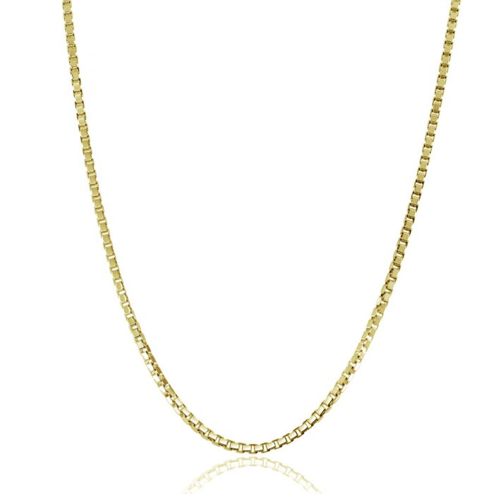 9ct Yellow Gold Plated 1.5mm Box Chain Necklace