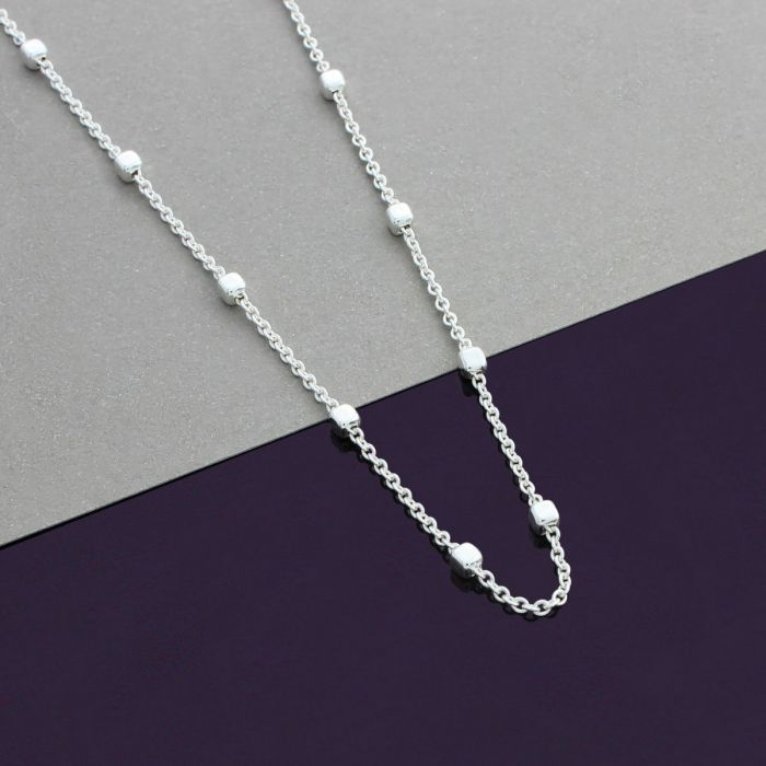 Snake or Ball Chain Necklace Sterling Silver Polished Flower Pendant on a Sterling Silver Cable