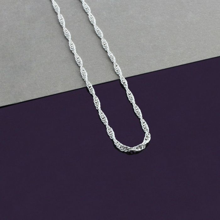 Sterling Silver 2mm Loose Rope Prince Of Wales Chain Necklace