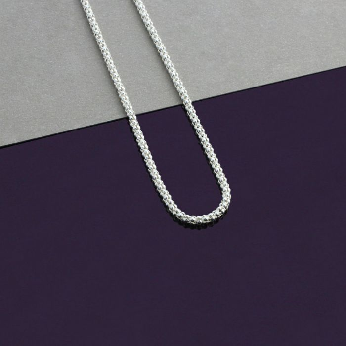 Sterling Silver 2mm Popcorn Chain Necklace