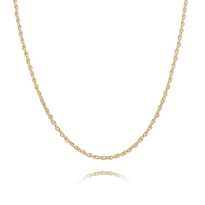 9ct Yellow Gold Plated 1.5mm Loose Rope Prince Of Wales Chain Necklace
