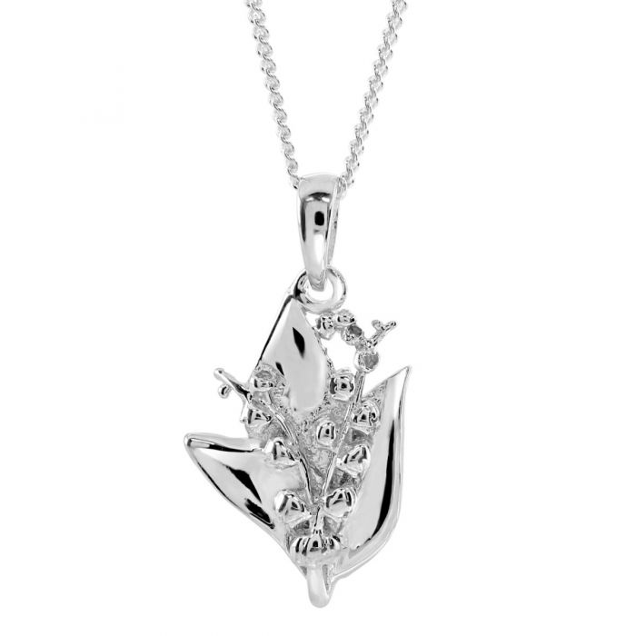 Sterling Silver MAY TIGER LILLY Necklace with Curb chain