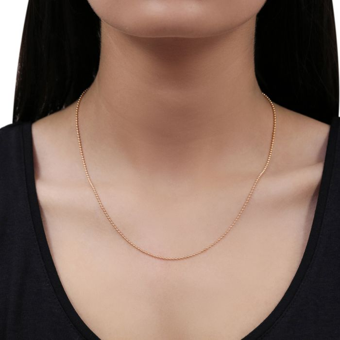9ct Rose Gold plated 1.5mm Ball Bead Chain Necklace