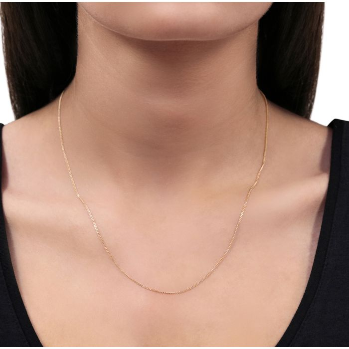 9ct Rose Gold plated 1.2mm Diamond Cut Curb Chain Necklace