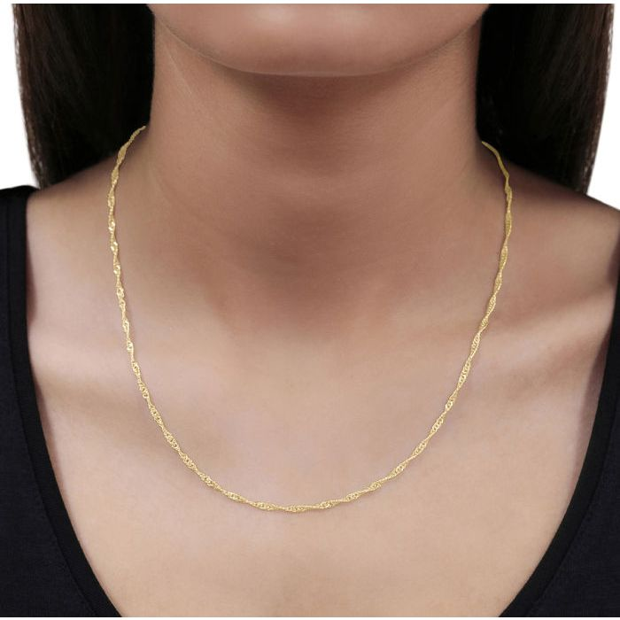 9ct Yellow Gold Plated 2mm Diamond Cut Singapore Chain Necklace