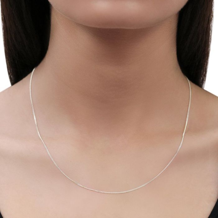 Sterling Silver 1.2mm Fine Diamond Cut Curb Chain Necklace