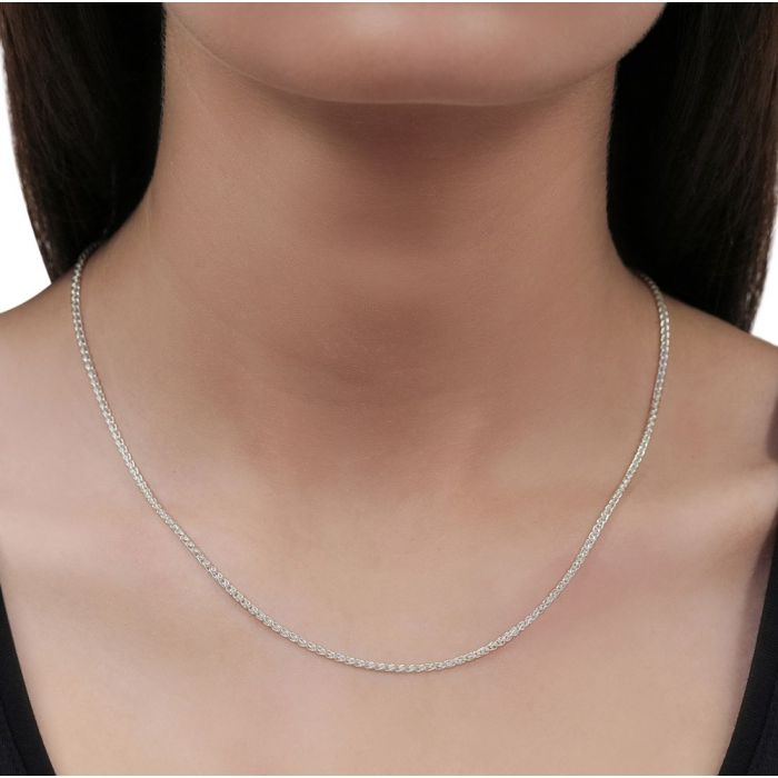 Sterling Silver 1.3mm Spiga Wheat Chain Necklace